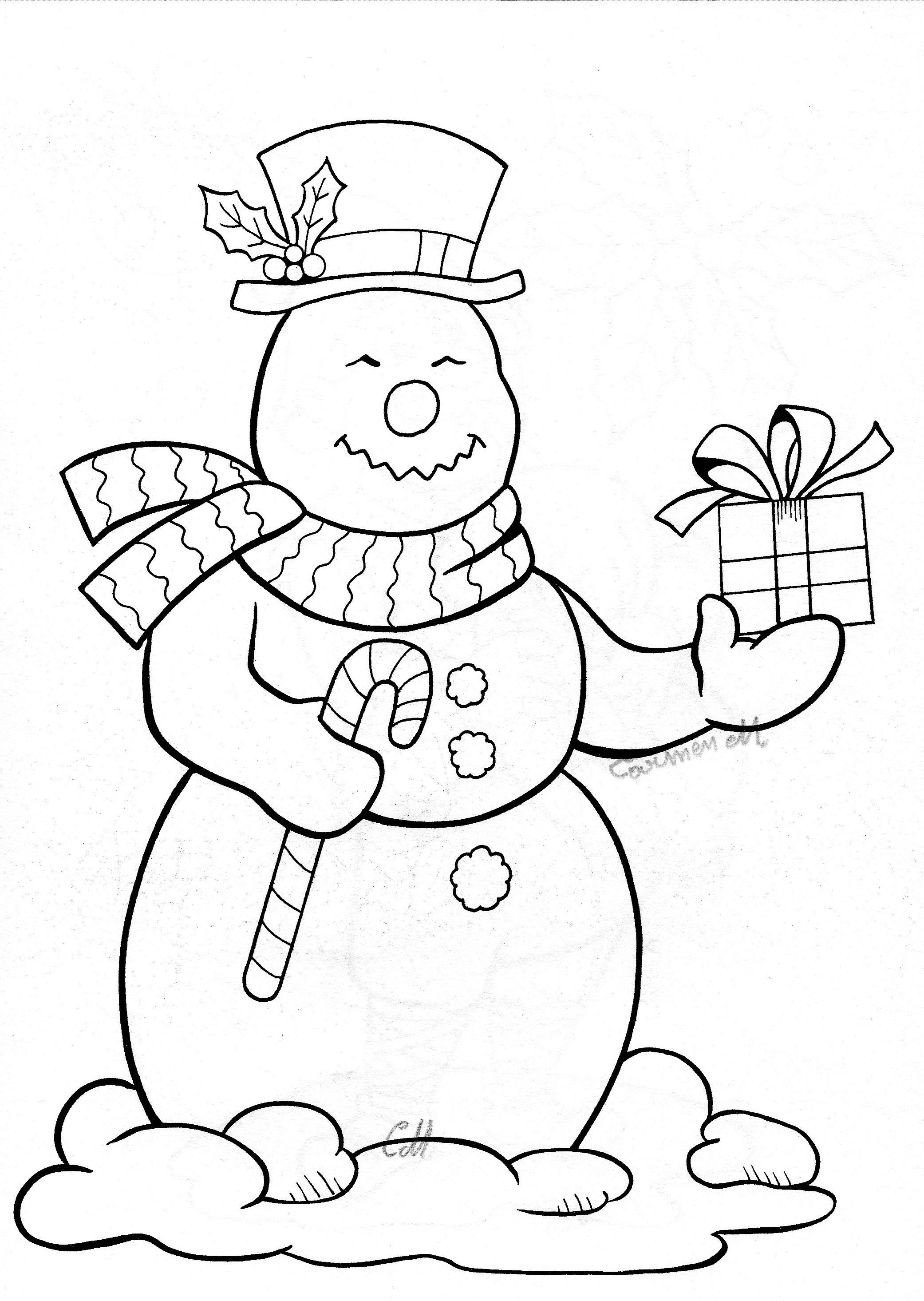 Snowman and Gift | Coloring pages, Christmas embroidery ...