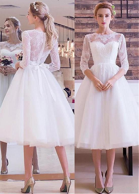 84348a40d12b Buy discount Wonderful Tulle Jewel Neckline Tea-length A-line Wedding  Dresses With Lace Appliques at Magbridal.com