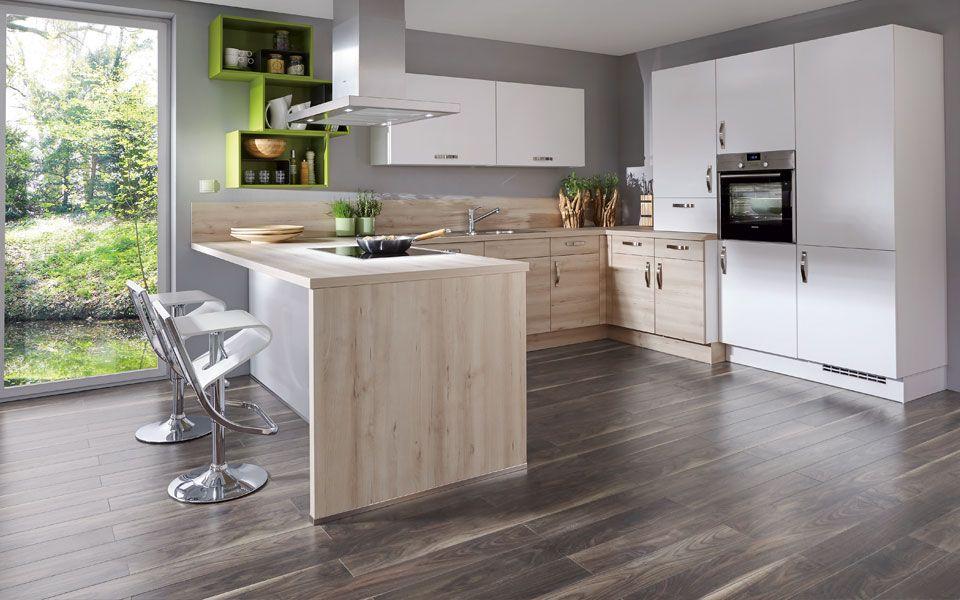 Küche in U-Form mit Tresen, weiß + Holzoptik - Küche\Co hh - küche in u form