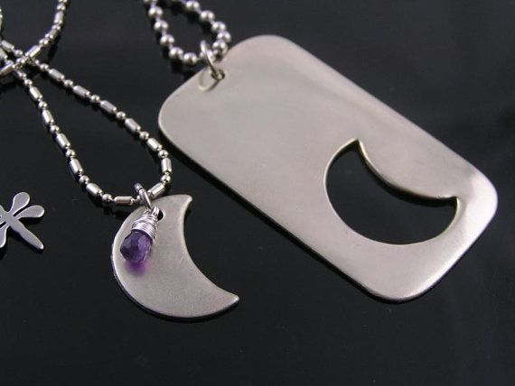dog crescent necklaces wedunitjewels matching moon couple pin tag partner necklace by and