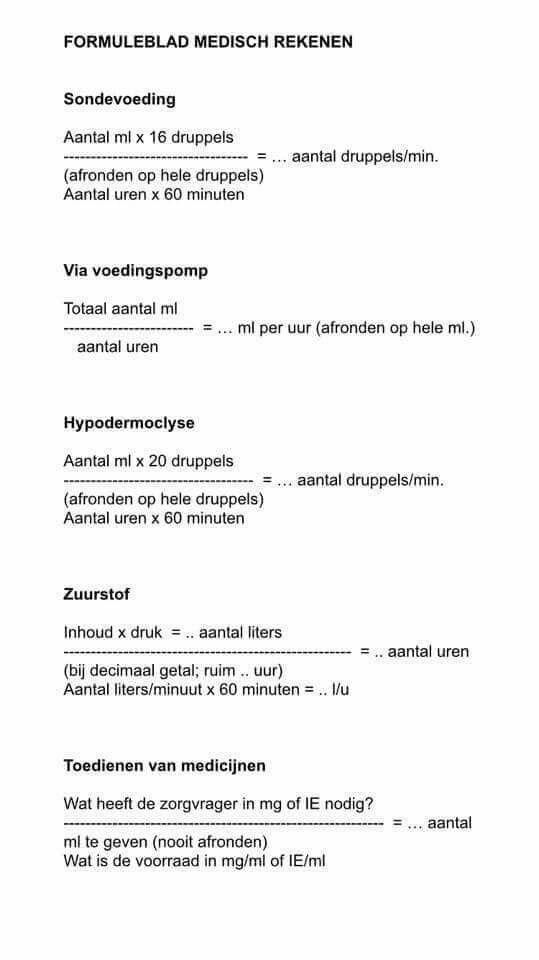 formules medisch rekenen. | medisch rekenen | nursing students
