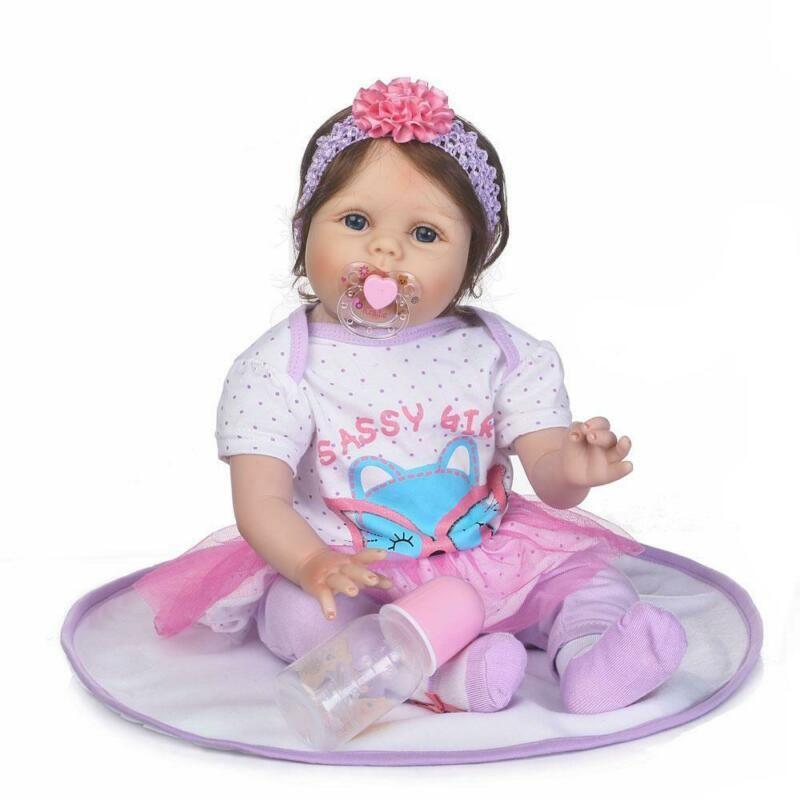 "22/"" Lifelike Newborn Babies Silicone Vinyl Reborn Baby Dolls Handmade Birth Gift"