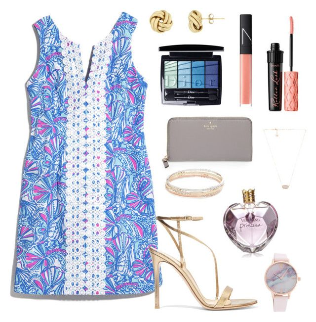 """Just got a new Lilly dress!"" by zoejm ❤ liked on Polyvore featuring Lilly Pulitzer, Gianvito Rossi, Christian Dior, Kate Spade, NARS Cosmetics, Benefit, Kendra Scott and Vera Wang"