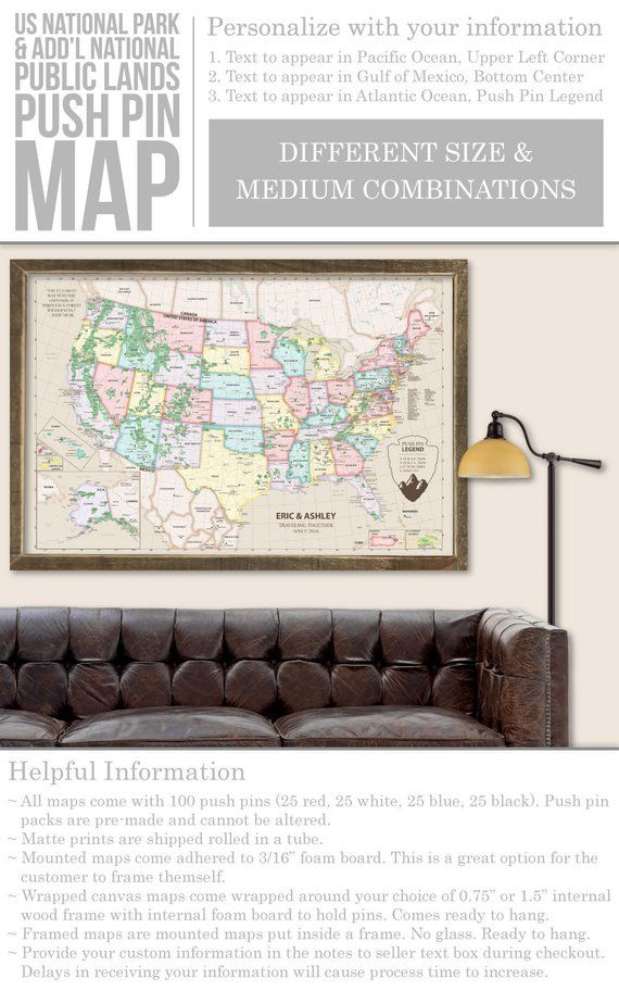 Personalized Us Map.National Park Map Push Pin Personalized National Park Map