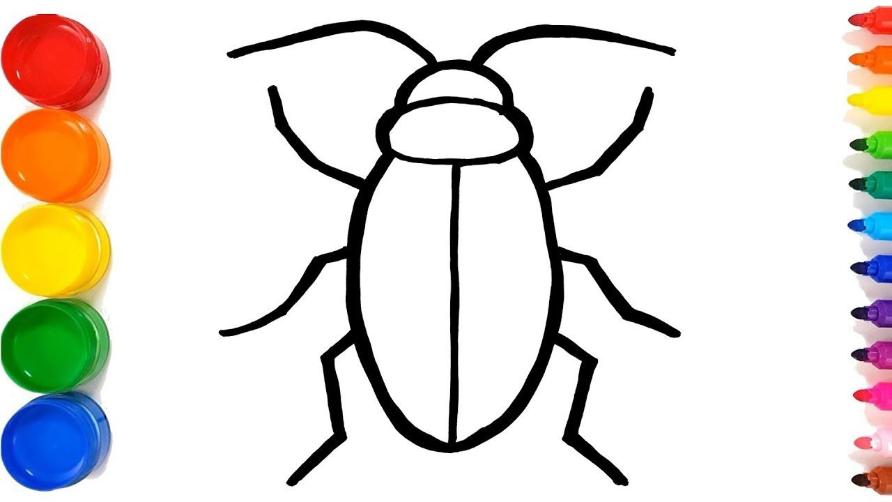 How To Draw A Cockroach Easy Step By Step Kidimation Tv Coloring Pages For Kids Coloring For Kids Easy Drawings