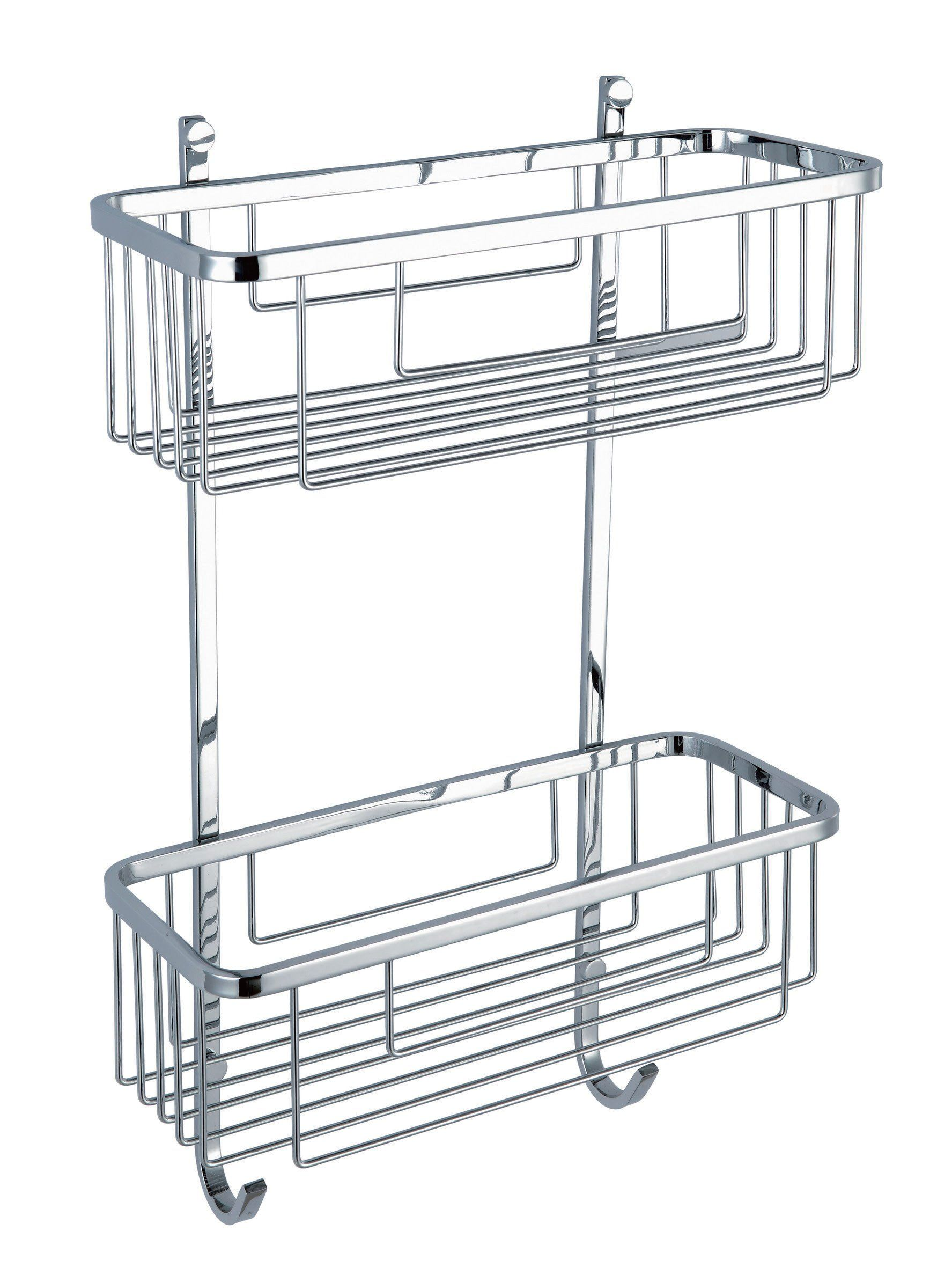 Hane 2 Tiers Stainless Steel Bathroom Shower Caddy Shelf Basket 09 121 Polished Chrome Bathroom Corner Shelf Diy Shelves Bathroom Bathroom Corner Rack