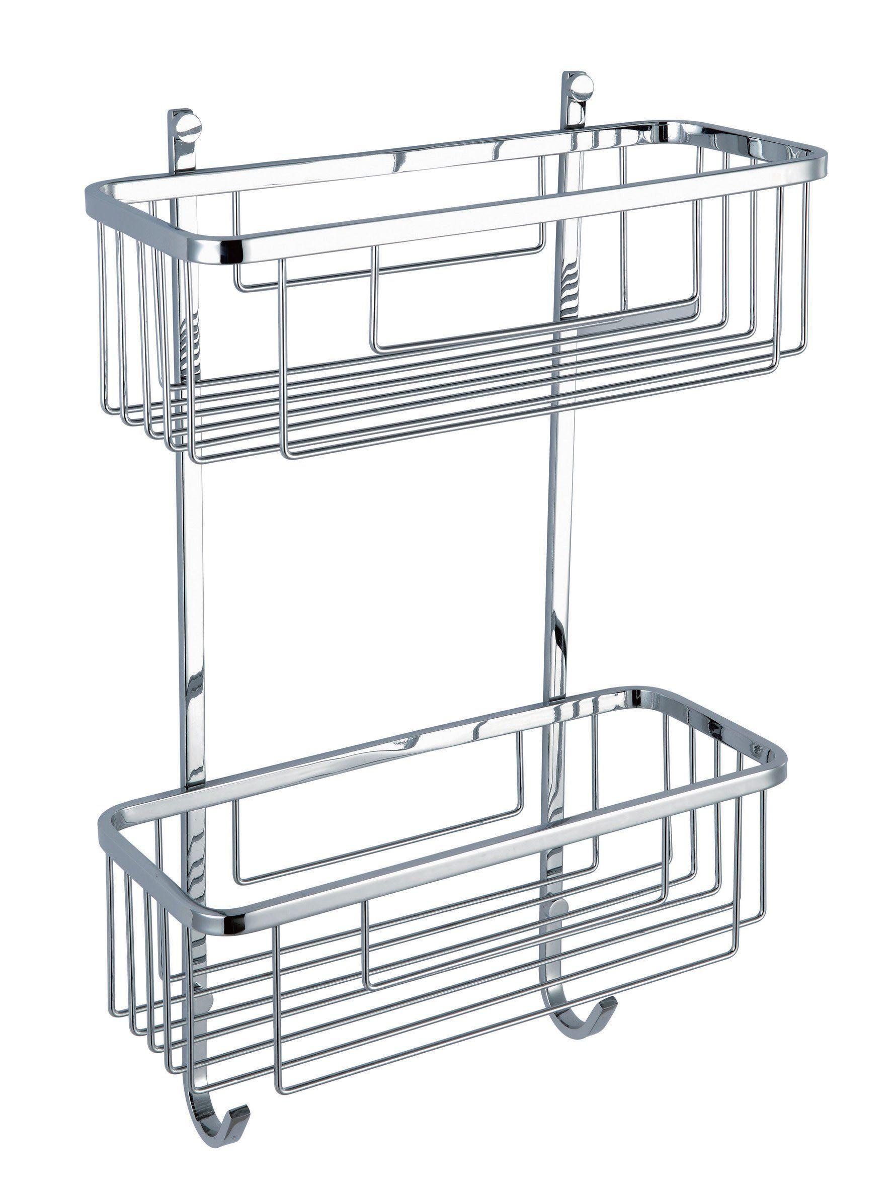 Hane 2 Tiers Stainless Steel Bathroom Shower Caddy Shelf Basket 09