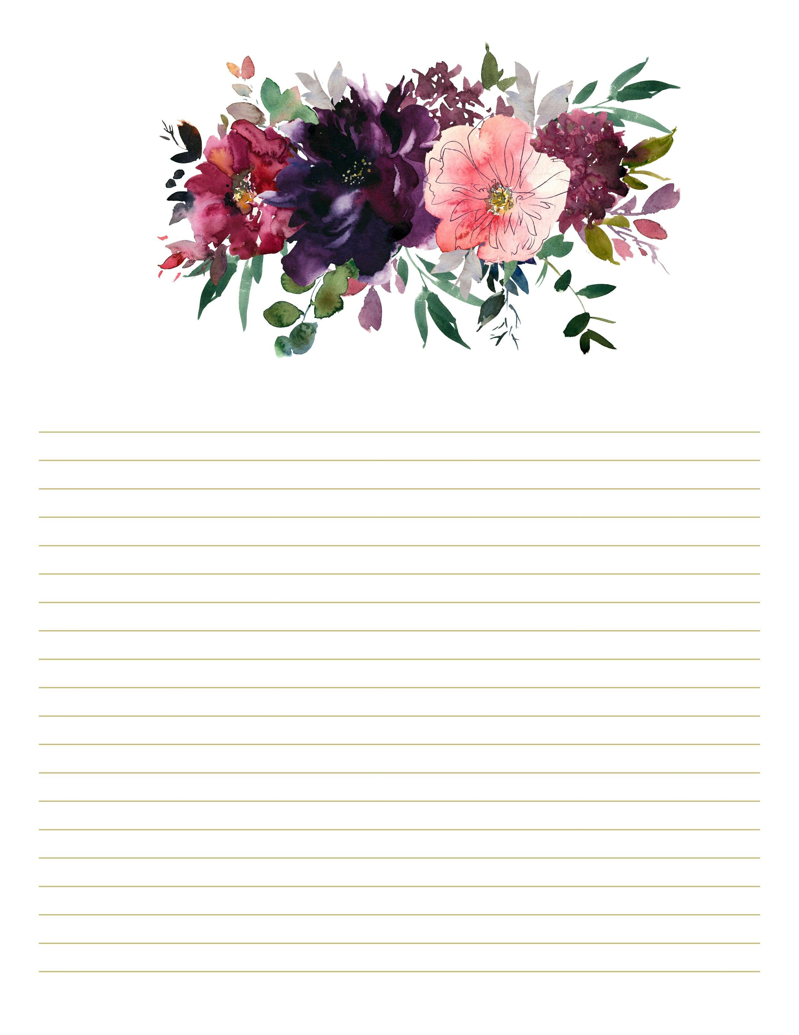 Burgundy & Plum Floral Stationary, set of 10, floral ...