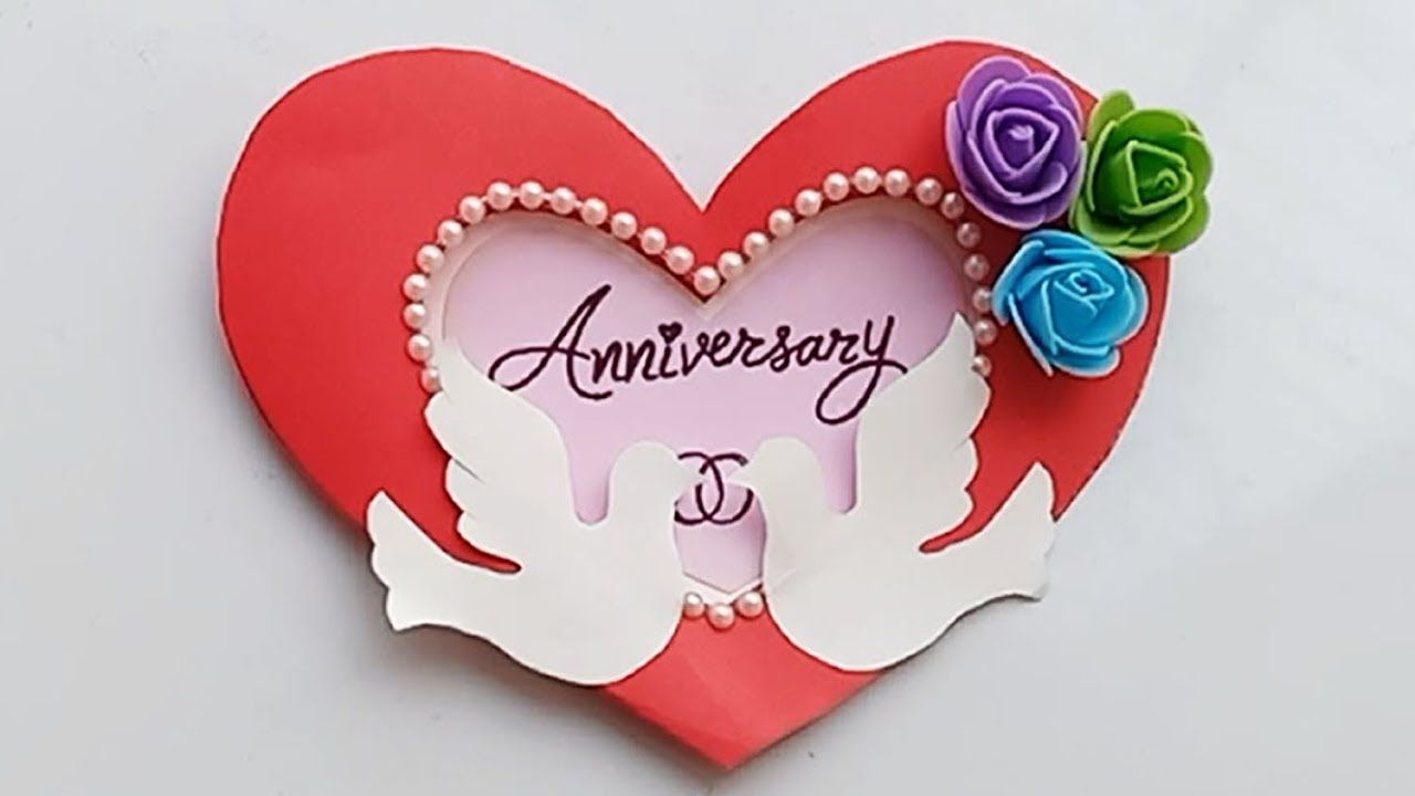 How To Make Anniversary Card Handmade Easy Card Tutorial Anniversary Cards Handmade Simple Cards Anniversary Card For Parents