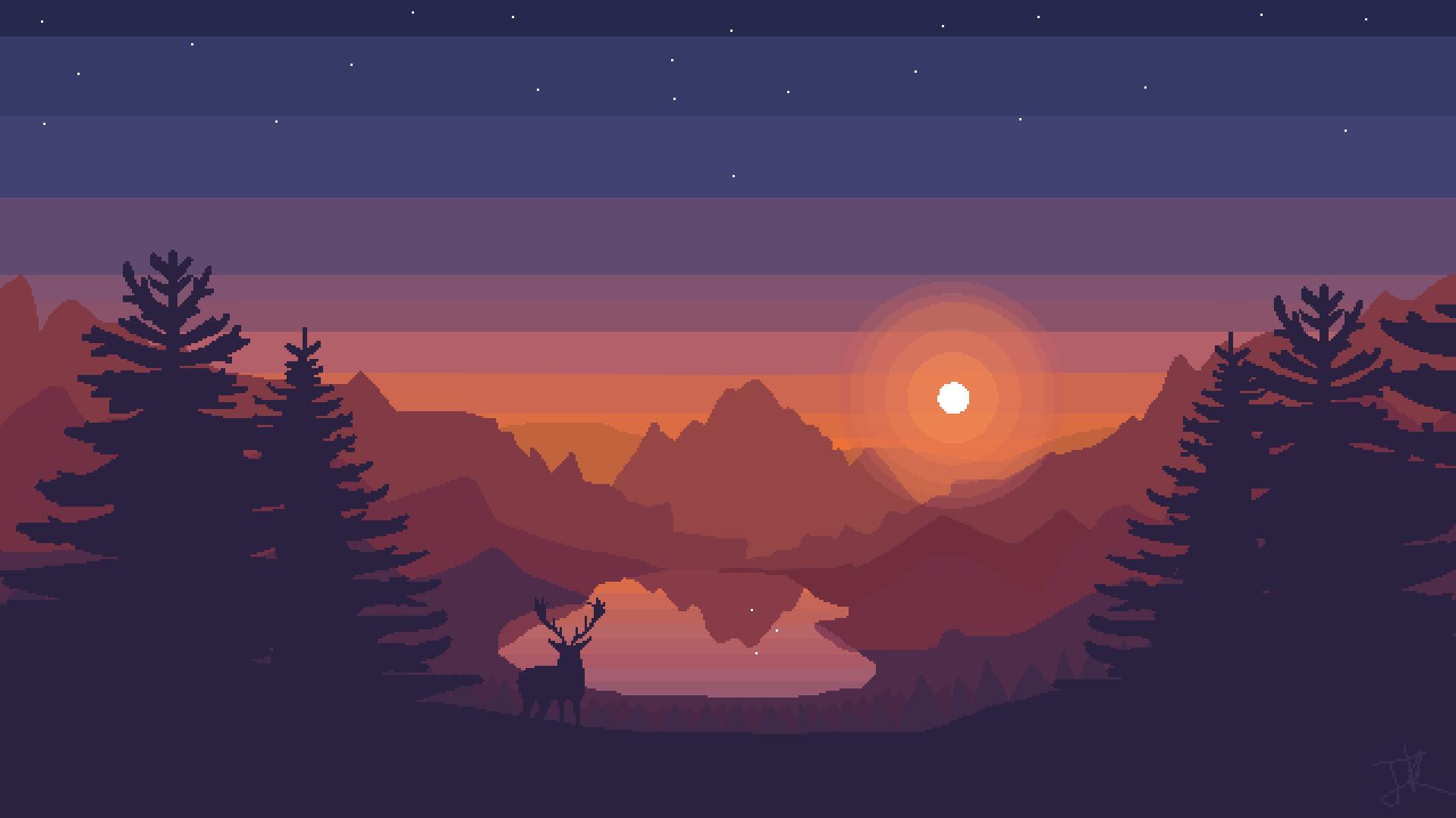 Related Image Landscape Wallpaper Sunset Wallpaper Pixel Art