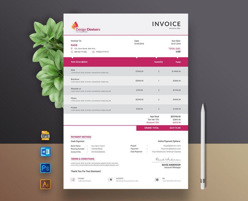 Ms Word Invoice Template Modern Invoice Invoice Receipt Etsy Description Professional Modern Clean Invoice Design Invoice Template Invoice Design Template