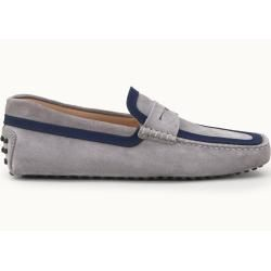 Tod's - Gommino Mokassins aus Veloursleder, Blau,grau, 5 - Shoes Tod's