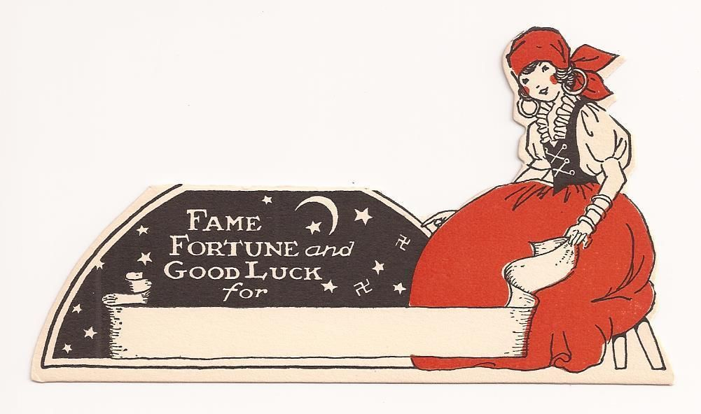 Vintage 1930's 40's Halloween Gypsy Fame Fortune Good Luck Party Place Card | eBay