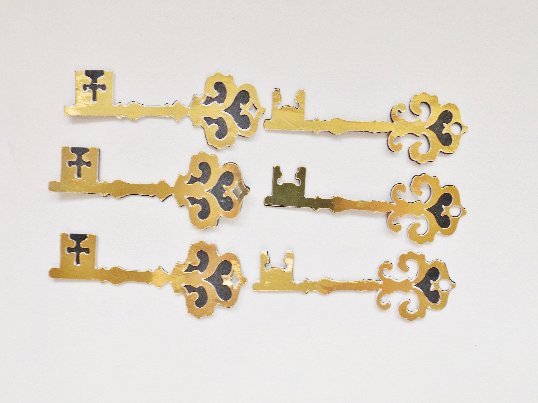 Gold Keys Papercraft Embellishments Key Scrapbooking Card Making Toppers Craft Supplies Decorative Paper Crafts Key Crafts Paper Crafts