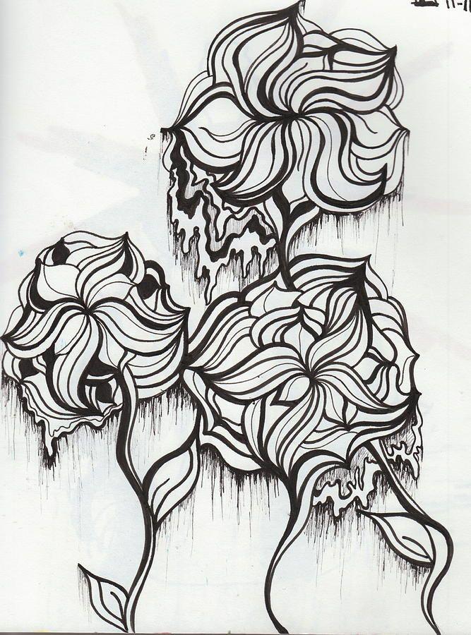 trippy flowersabby keller  drawings adult coloring