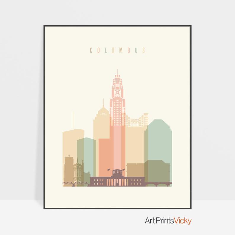 Columbus art print Poster Columbus skyline Travel Wall art