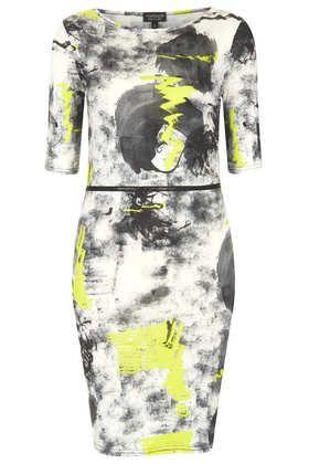 Neon Scribble Zip Mini Dress