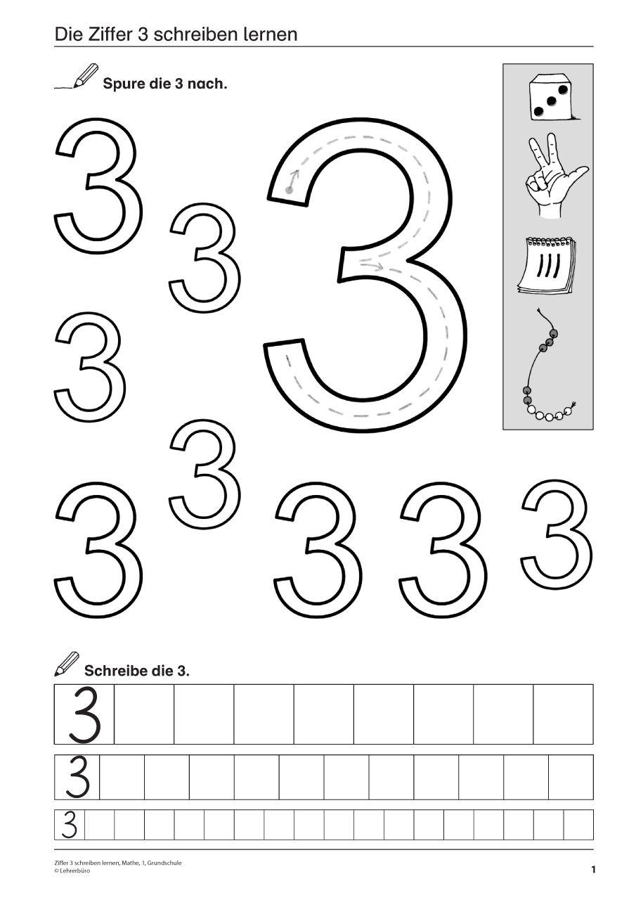 Ziffer 3 schreiben lernen, Mathematik, 1. Klasse und Vorschule ...