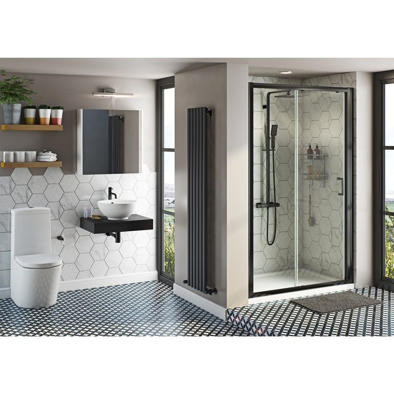 Mode Tate Close Coupled Toilet And Complete Black Shower Door Suite 1200mm In 2020 Shower Doors Black Shower Doors Black Shower