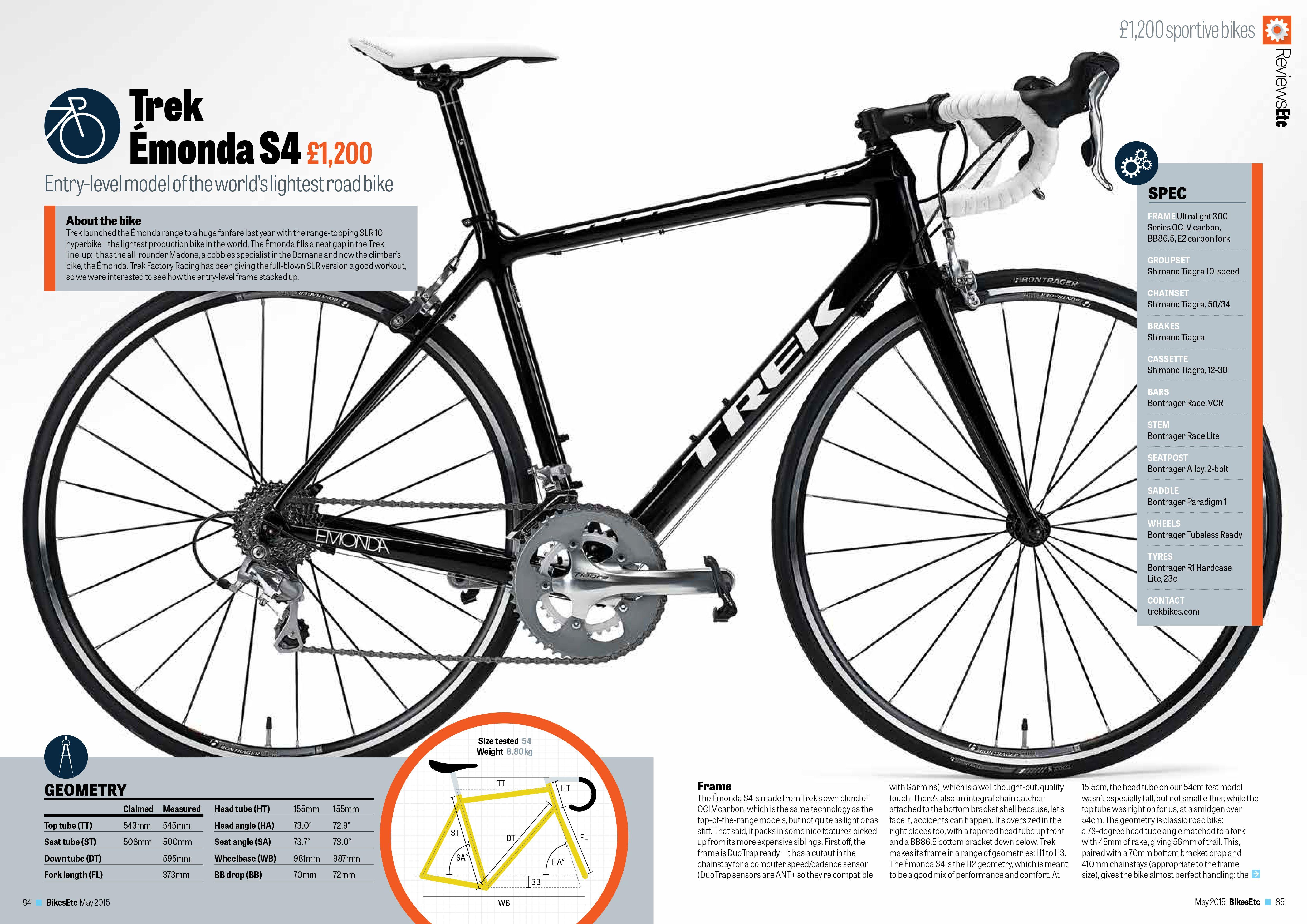 Bikesetc Magazine  May 2015 Uk  Road Bike Review  Trek Emonda S4   Cycling