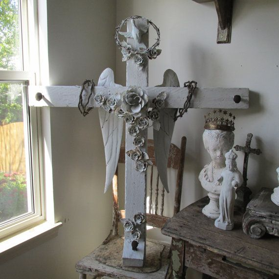 Shabby farmhouse chic distressed ornate white wall hanging cross home decor
