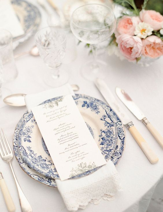 Have you thought about your wedding china? There are so many different hire options out there now… there is vintage china, plain white or beautiful base plates. I am in love with Blue china&#…