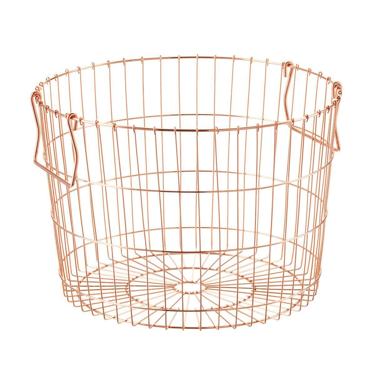 Round Copper Wire Storage Basket (14-1/2\