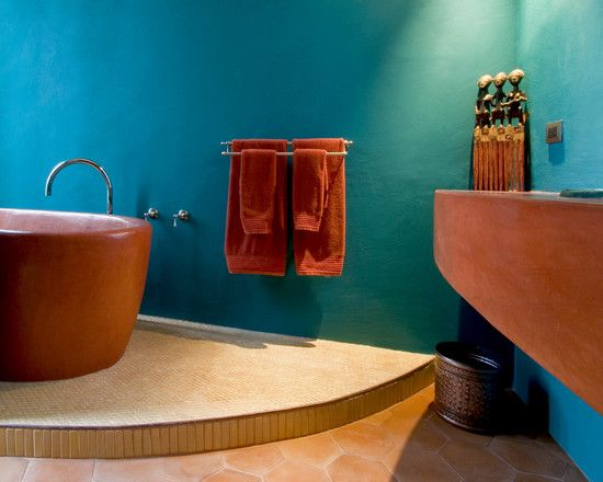 Use Terracotta Color For Astounding Ambiance Mediterranean Bathroom At Moroccan Suite Hand Sculpted Tub And Blue Wall Outmc Exterior Design