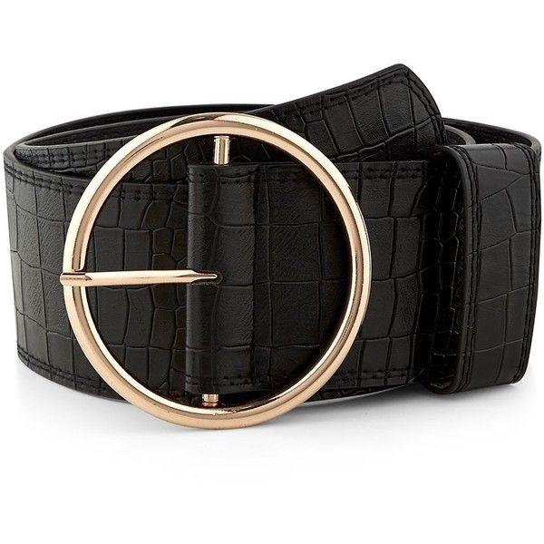 d7fa94e4a Black Croc Texture Round Wide Buckle Waist Belt (€11) ❤ liked on Polyvore  featuring accessories, belts, round belt, buckle belt, wide belt, croc belt  y ...