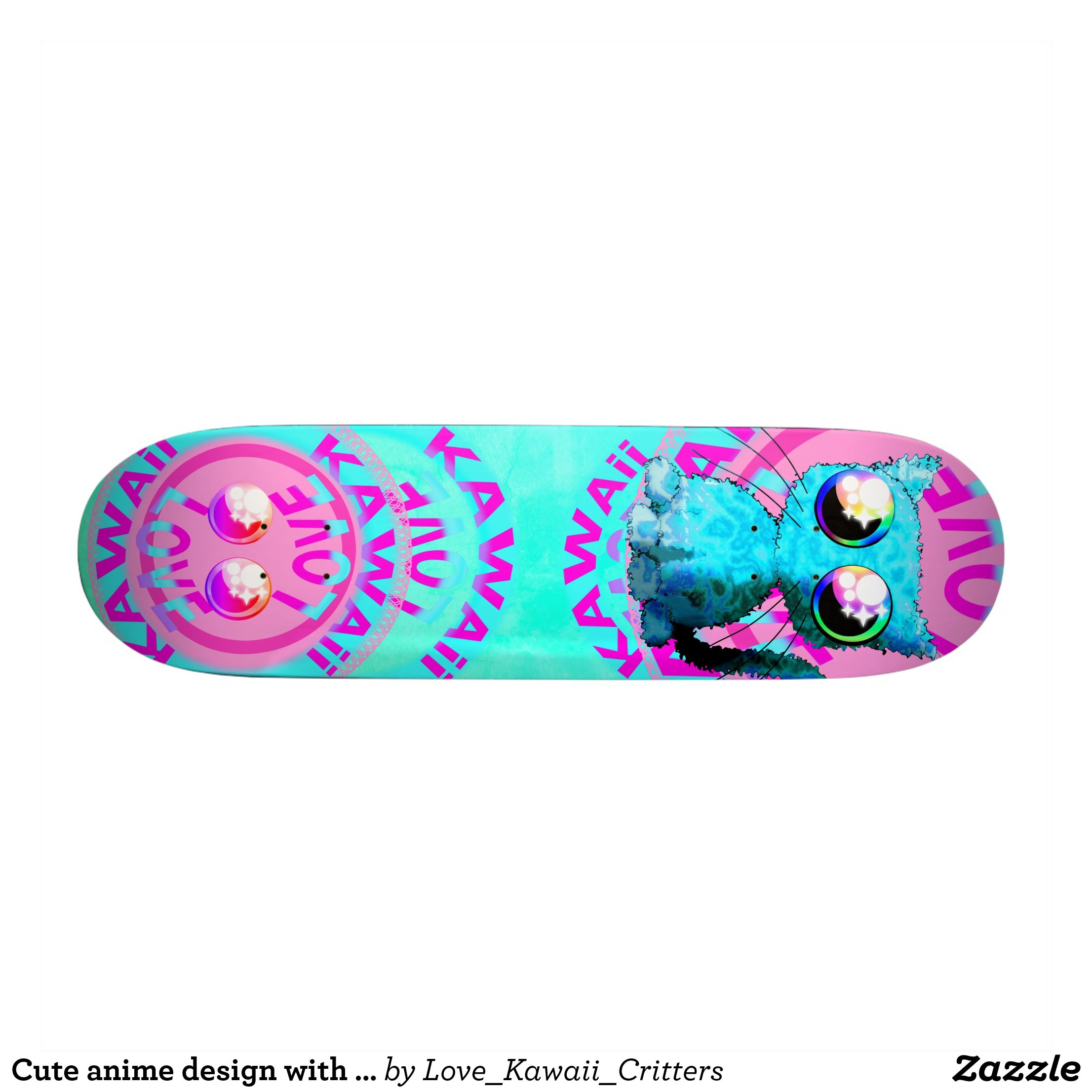 Cute Anime Design With Cat And Text Skateboard Zazzle Com