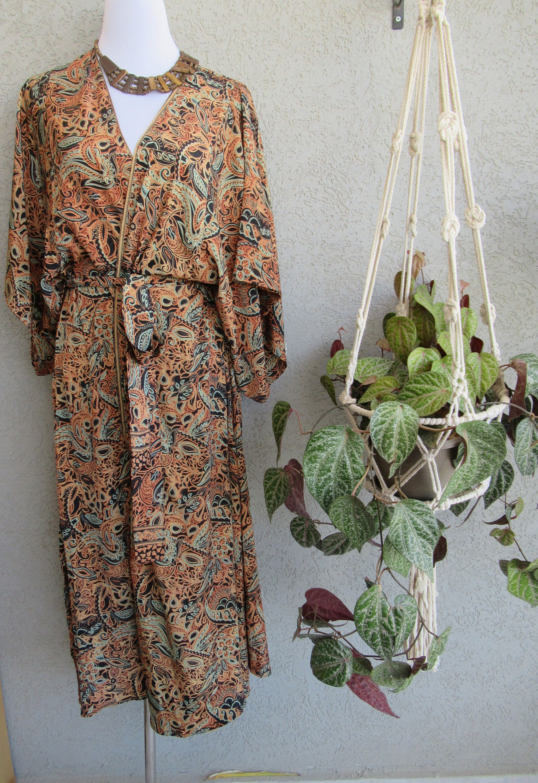 Boho Orange Black & Green Silk Long Kimono Robe with 2