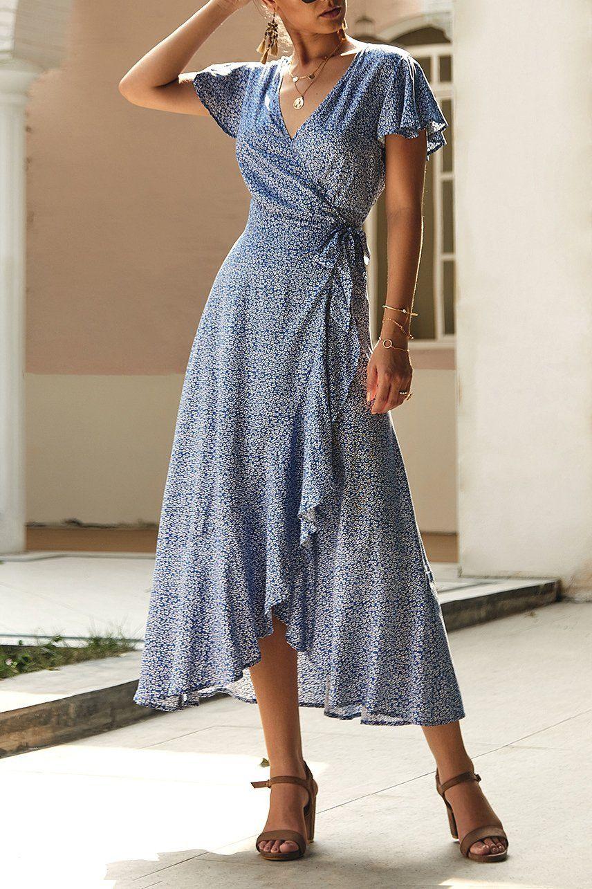 Deep V Wavy Wrap Summer Dress