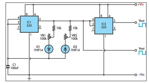 555 Timer Circuit Diagram With Variable On Off Times
