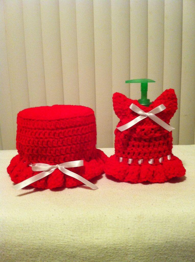 Crochet Handmade Toilet Paper Holder Cover And Soft Cover Set