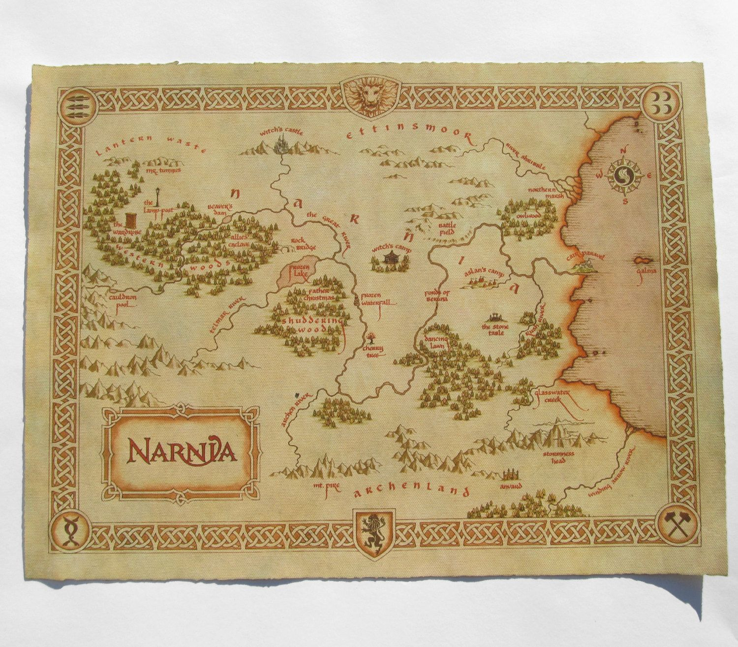 Narnia map, Cotton Canvas map, Vintage Map Style, Digital print ...