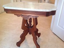 Exceptional Antique 1800u0027s Walnut Carved Victorian Eastlake Marble Top Table