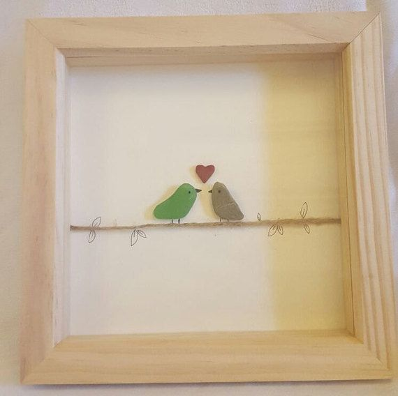 Love birds, sea glass art, pebble picture. Great anniversary gift.  £16.00