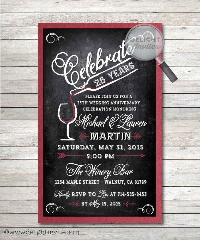 25th Wedding Anniversary Party Invitations And Envelopes