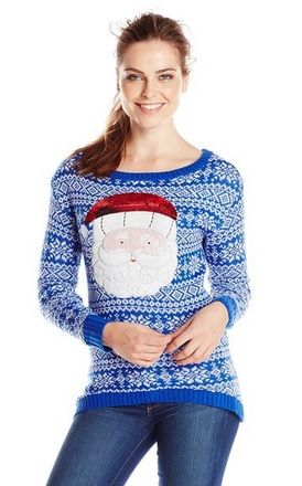 Isabella's Closet Women's Sequin Santa On Fair Isle Ugly Christmas ...