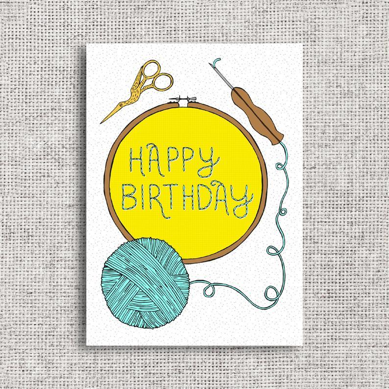 Happy Birthday Punch Needle Card Crafter Crafting Textiles Etsy Happy Birthday Design Punch Needle Happy Birthday