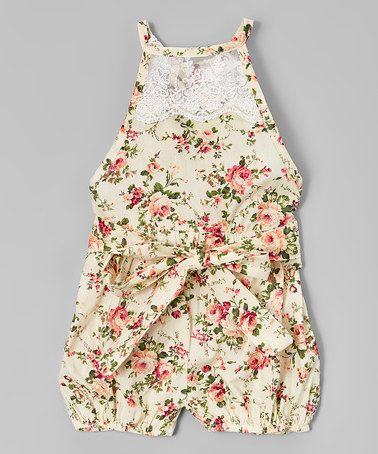 Another great find on #zulily! Cream & Pink Floral Lace Bubble Romper - Infant #zulilyfinds
