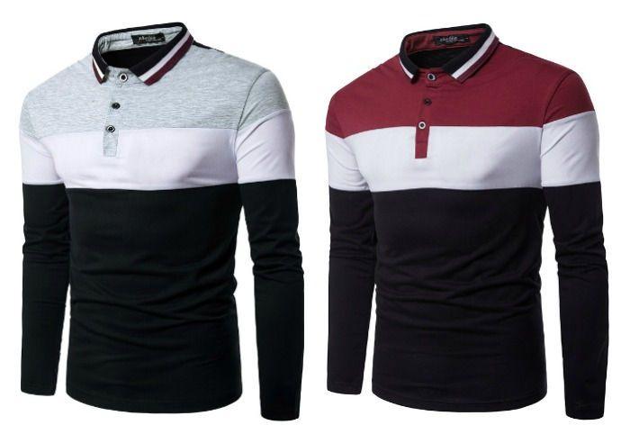 Camisa Polo Fashion em 3 Cores - Desenho Italiano - em Vermelho e Cinza c69852911b34b