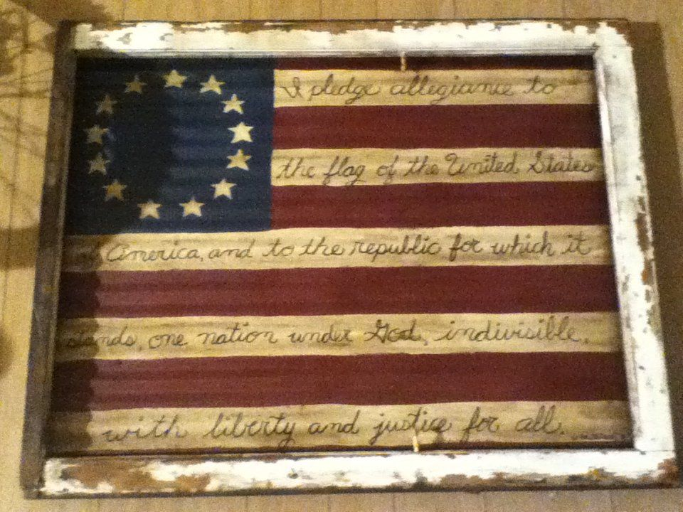 Flag Painted On Old Barn Tin And Mounted In An Old Window