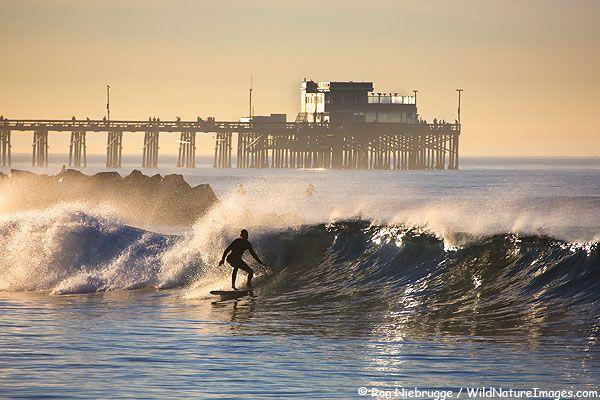 Surfer In Front Of Newport Beach Pier Ca Newport Beach Pier Newport Beach Beach Activities