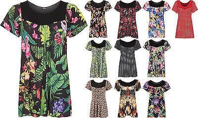 Womens Plus Size Floral Flower Print Scoop Neck Short Sleeve Top Ladies Tunic