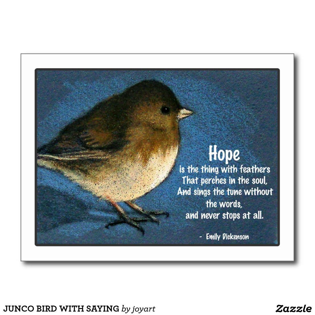 Junco Bird With Saying Postcard Zazzlecom Craft Ideas Bird