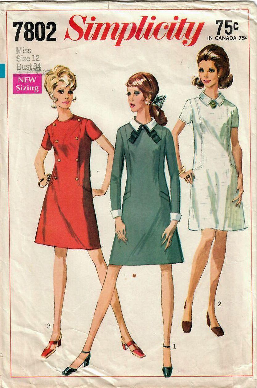 1960s simplicity 7802 vintage sewing pattern misses a line dress 1960s simplicity 7802 vintage sewing pattern misses a line dress one piece dress detachable collar detachable cuffs size 12 bust 34 jeuxipadfo Choice Image
