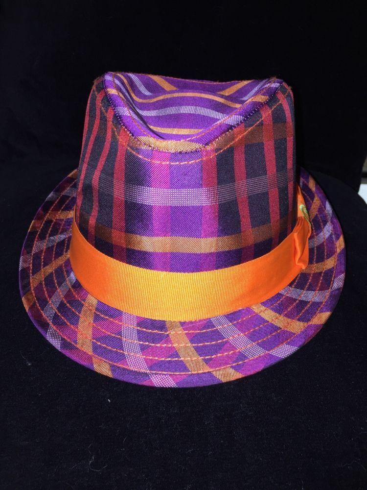 d5beee6a52027 Robert Graham Silk Plaid Fedora Hat Size S M Purple