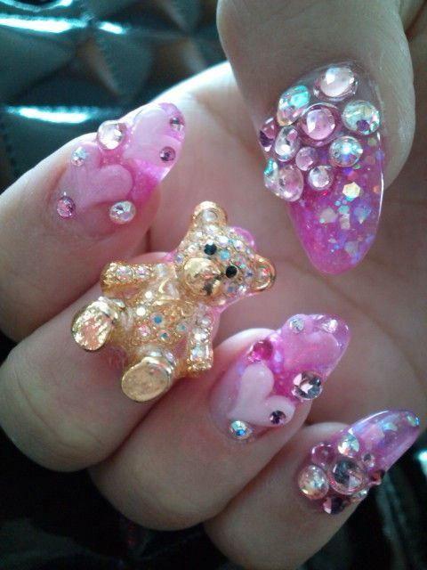 Cute pink acrylic 3d bear,hearts,and crystal nails. | acrylic nails ...