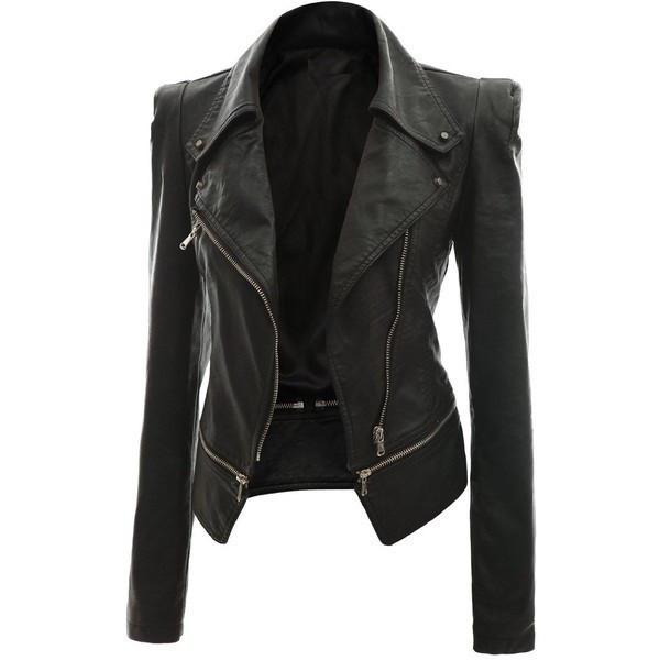 Women Slim Fit Faux Leather Jacket Zipper Long Sleeve Punk Motorcycle Coat Tops